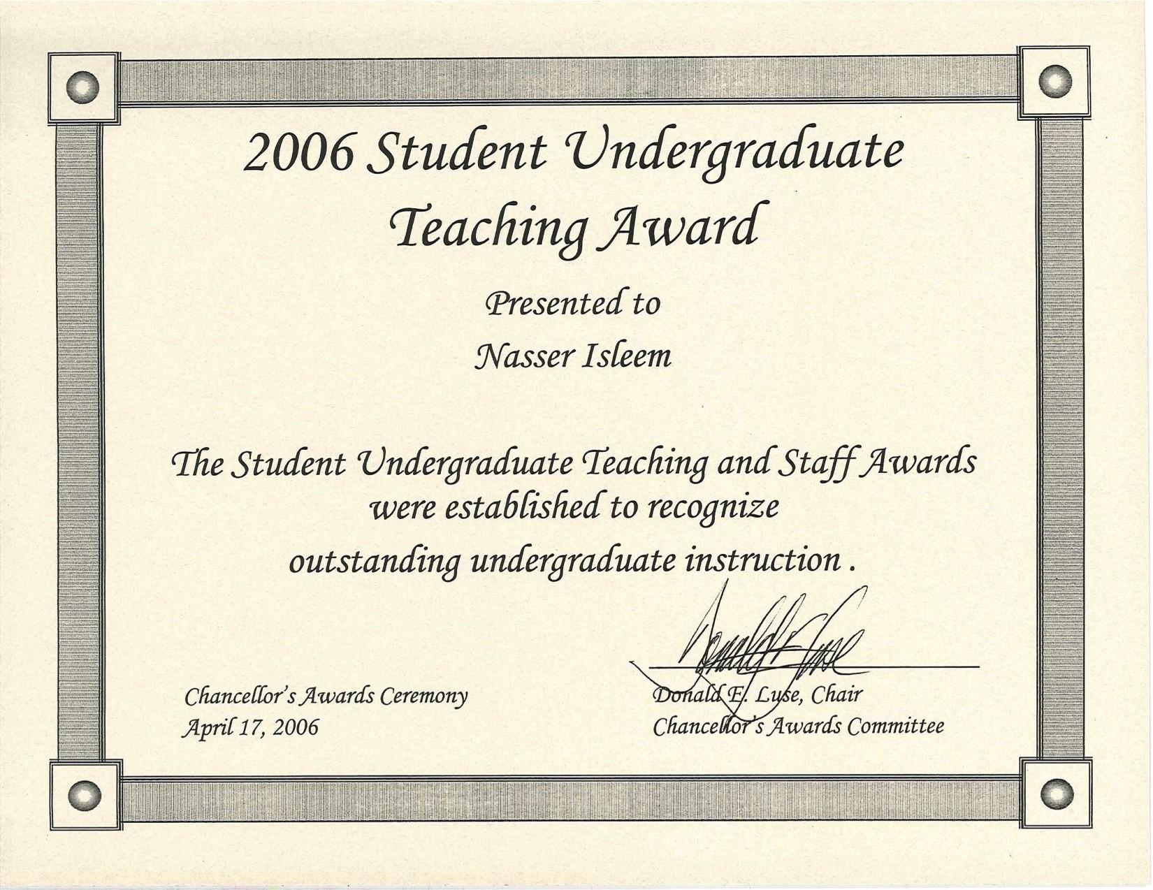 Undergraduate Teaching Award