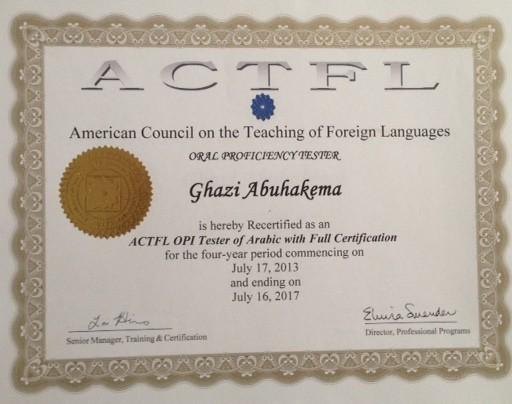 ACTFL OPI Certificate