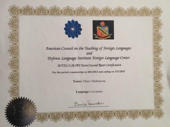 ILR OPI Certificate