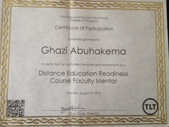 Distance Education Faculty Mentor Certificate